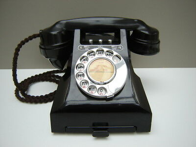 Vintage 1950'S GPO Black Bakelite 314L '3 BUTTON' Telephone Fully Restored