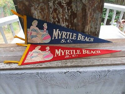 "Vintage-(2)1950's Myrtle Beach S.c. ""girls On Beach""felt Pennant Banners-Excell."
