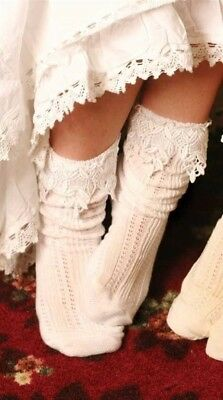 Victorian Trading Co Womens Lacy Anklet Socks White Lace Trim at Ankle
