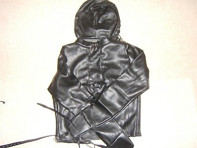 Straight jacket, Black with full mask escapology suit, Leather Size Small/med