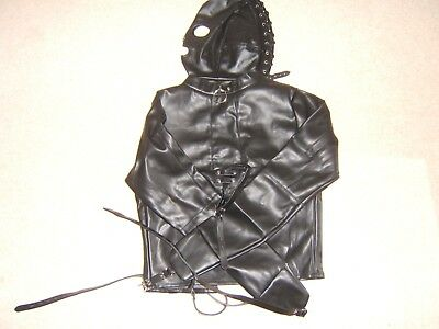 Straight jacket, Black with mouth mask escapology suit, Leather Size Small/med