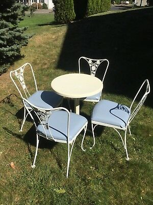 Signed Russell Woodard Mid Century Wrought Iron Patio Bistro Set Table 4 Chairs