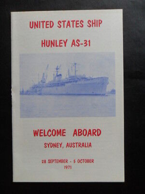 United States Navy USS HUNLEY (AS-31) Welcome Aboard SYDNEY Australia 1971