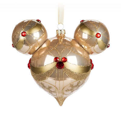 Disney Parks Bejeweled Champagne Mickey Ears Icon Glass Christmas Ornament NEW