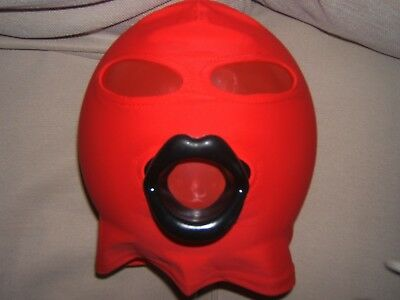 Red Spandex Gimp mask with Latex sissy lips in Red, Black or Pink Size M