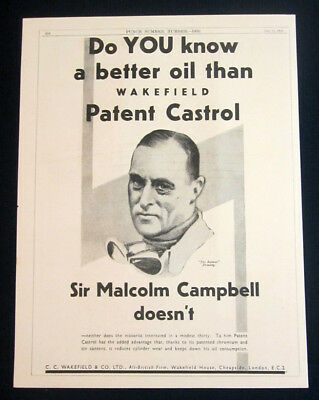 1936 Wakefield Patent Castrol oil vintage print ad drawing Sir Malcolm Campbell