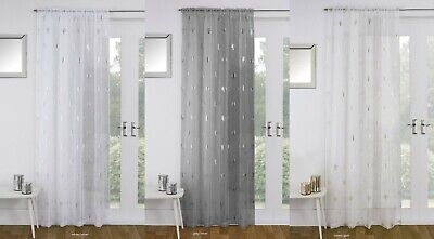 Birch Silver Metallic Trees Print Slot Top Single Panel Net Sheer Voile Net
