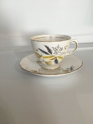 Vintage Colclough Bone China Stardust Cups And Saucer Made In English