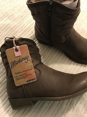 BNIB Designer Debenhams Mantaray Girls Leather Cowboy Boots Size 13 Winter Warm