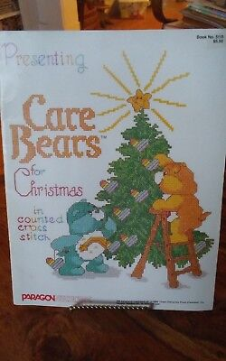 Vtg rare Care Bears for Christmas Paragon counted cross stitch charts bk 5110