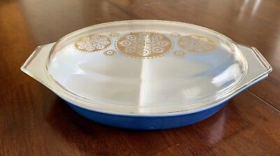 Pyrex Blue Oval Medallion Divided 1.5 Quart Casserole Dish W/Lid Gold