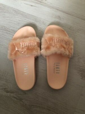 detailed look 7732a e4788 PUMA FENTY BY Rihanna Pink Fur Slides Size 4 NEW WITH DEFECTS SEE  DESCRIPTION