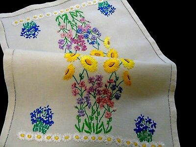 """Stunning,Vintage,Hand Embroidered,Linen Table/Dresser/Tray Centre/Mat 12.5""""x19"""""""