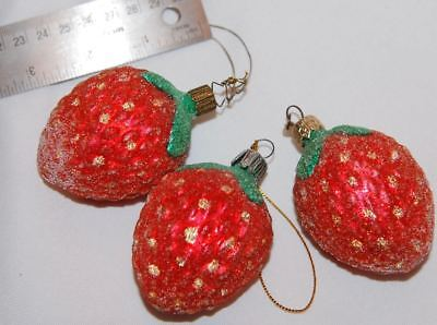 three Christmas Heirlooms Sugary Strawberry/Fruit Blown Glass Ornament Germany