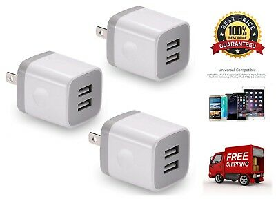 3 Pack Universal Double USB Wall Charger 2.1A Dual Port Charging Power Adapter