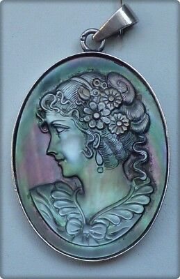Antique Victorian 925 Sterling Silver Mother-Of-Pearl Cameo  Lady Pendant