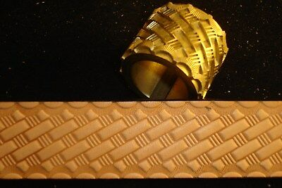 """Leather Embossing Machine Roller with Basketweave pattern Brass 1-1/4"""""""