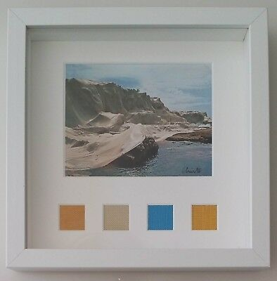 Christo Javacheff: Wrapped Coast, 1968, artcard signed and 4 fabrics proyects
