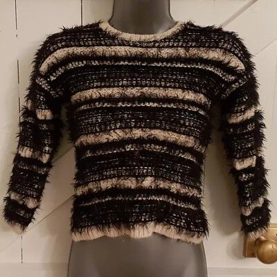 GIRLS Age 5-6 WOOL Blend Jumper NEXT Black/White METALLIC Soft Fluffy Knit VGC