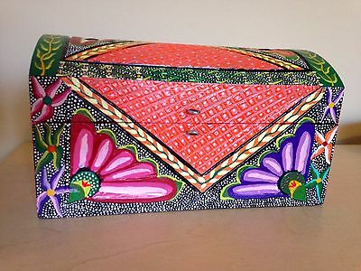 Mexican jewelry box- Oaxacan folk art- Oaxaca Mexico wood carving alebrije style