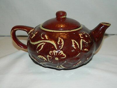 Lovely Margaux Cinnamon Brown Stoneware Teapot - Embossed Floral Design