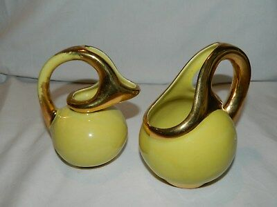 Vintage Hand Painted Round Yellow With Gold Trim Sugar And Creamer Set