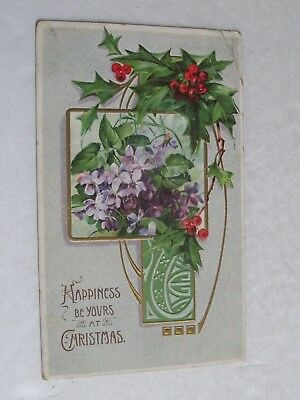 F551 Postcard A Merry Christmas Holly Happiness be yours