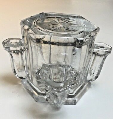 RARE and UNUSUAL antique glass 3 spout ENCLOSED portable Victorian Inkwell