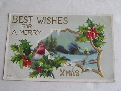 F553 Postcard Best wishes for a merry Christmas Xmas Winter scene bird holly