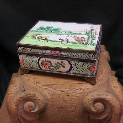Antique WIRELESS CLOISONNE Chinese Enamel On Brass Box SIGNED Very Early Example