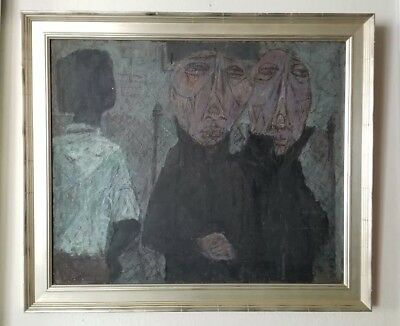 "Richards Ruben New York Vintage 1951 Abstract Figures Modernist 24"" Oil Painting"