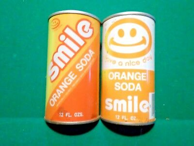 Vintage 2 Diff. Rare Smile Have a Nice Day Orange Straight Steel Soda Pop Can