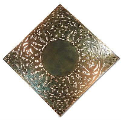 BM11 Vintage Reproduction Large Square Moroccan Brass Filigrain Wall Sconce
