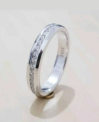 Sterling Silver Cubic Zirconia CZ Channel-Set Eternity Band Ring