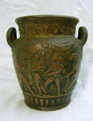19th C. Bronze Clad Pottery Urn Grand Tour Italian Classical Great Patina Signed