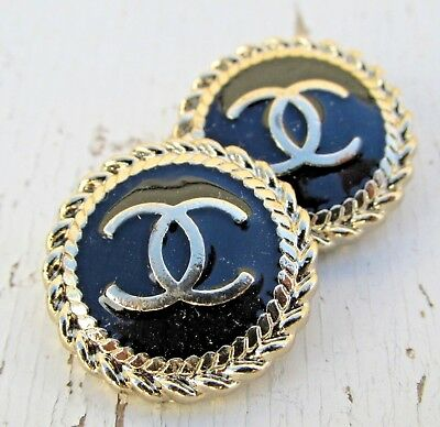 2 Round CC Chanel Button Logo Gold  20mm 4 DIY Jewelry Sewing Buttons 4 Charm
