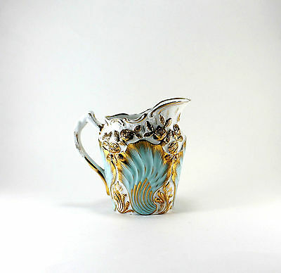Vintage Heavy Gold & Baby Blue Porcelain Pitcher Jug Hand Painted Rose