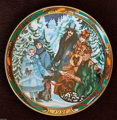 "Royal Copenhagen Piatto Ceramica"" Bringing Home The Christmas Tree"" 1991"