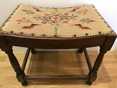 Antique Edwardian Oak & Tapestry Piano Stool Curved Seat