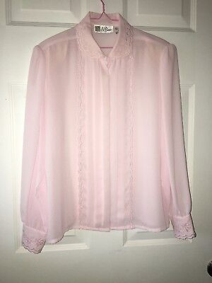 Light Pink Vtg LaBlouse LS Button Up Blouse Embroidered Sleeve Sz 14 Poly