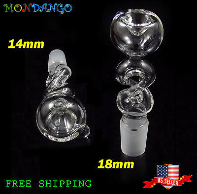14mm  or 18mm Joint Clear Spiral Twist Glass Slide Bowl FreeShipping USA