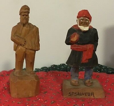2 Small Vintage Wood carvings from Quebec-Signed- P. Hannah  ST SAUVEUR