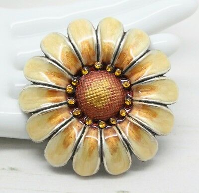 Vintage French Pierre Bex Large Flower Enamel and Crystal Brooch Pin Jewellery