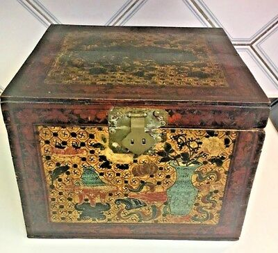 RARE Antique Chinese LG hand painted 4 winds whirling logs Tea Spice chest box