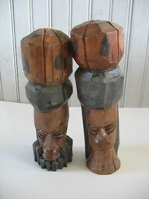 PR Hand Carved Tribal African ? Woman and Man Wood Statues Figurines