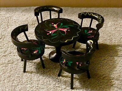 Vintage Toleware Style Kitchen Table And Chairs Doll House Furniture Real Wood