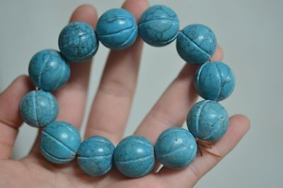 RARE CHINESE OLD TURQUOISE CARVING WATERMELON SHAPE BEADS BRACELET bh272