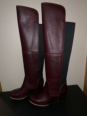 942e8009d9a Sorel Womens Fiona OTK Wedge Boot Rich Wine Black Leather Over The Knee  Tall NEW