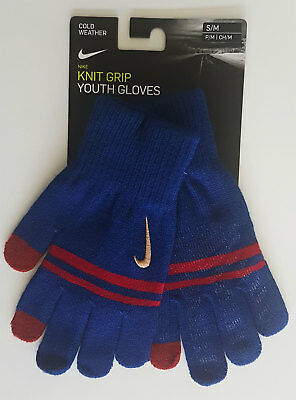 Nike Gloves Boys Youth Knitted Tech and Grip Blue & Red Phone Use Brand New