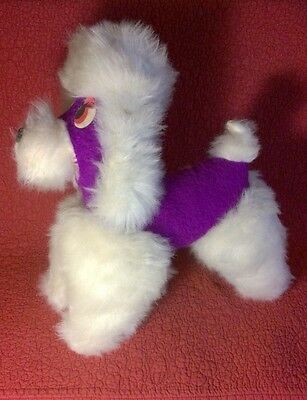 """14"""" by 14"""" vintage PURPLE WHITE FRENCH POODLE 50s 60s? plush stuffed animal toy"""